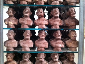 Roth's column of self-portrait busts in chocolate