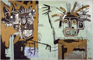 Basquiat,Untitled (Two Heads on Gold), 1982