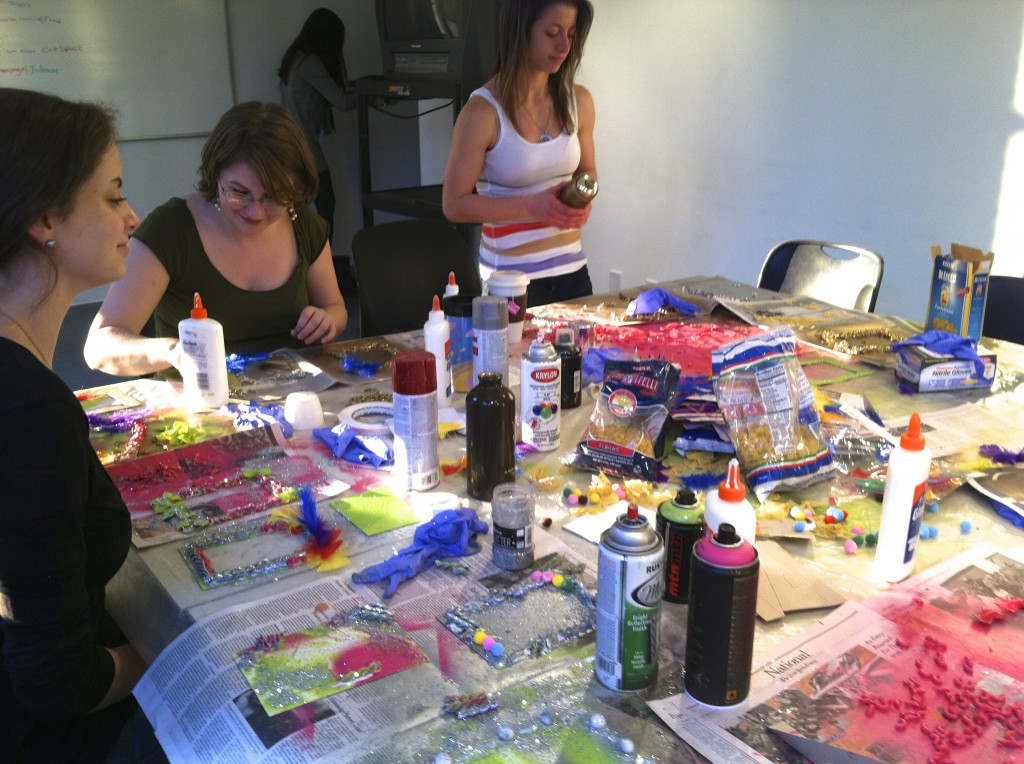 Julia, Rachel, and Tiffany at the craft table