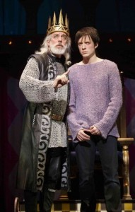 Terrence Mann as Charlemagne, and Matthew James Thomas as his son Pippin